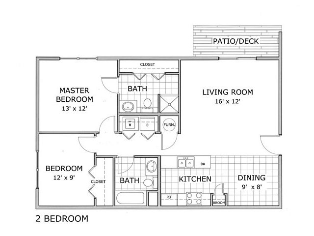 floor plan image of a 2 bedroom apartment home