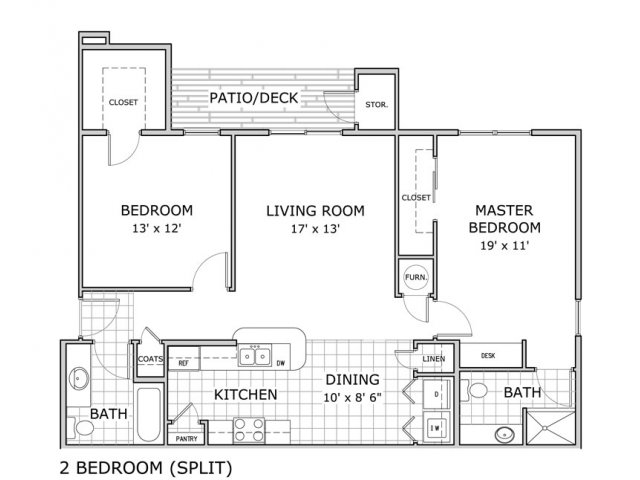 floor plan image for 2 bedroom apartment at Hawthorn Suites