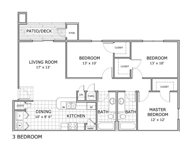 3 bedroom apartment home image