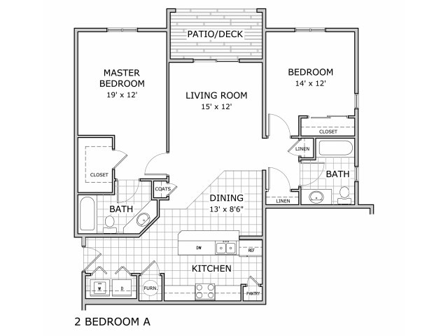 floor plan image of 2 bedroom apartment at Coryell Courts