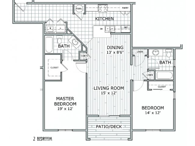 floor plan image of apartment with 2 bedrooms and 2 bathrooms at Coryell Courts