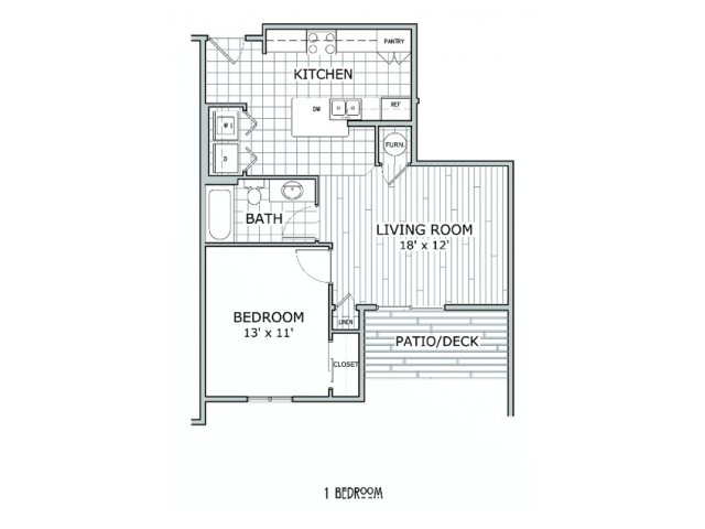 floor plan image of 1 bedroom apartment at Coryell Courts