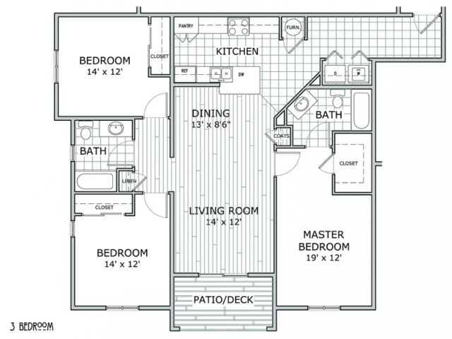 floor plan image of apartment with 3 bedrooms and 2 bathrooms at Coryell Courts