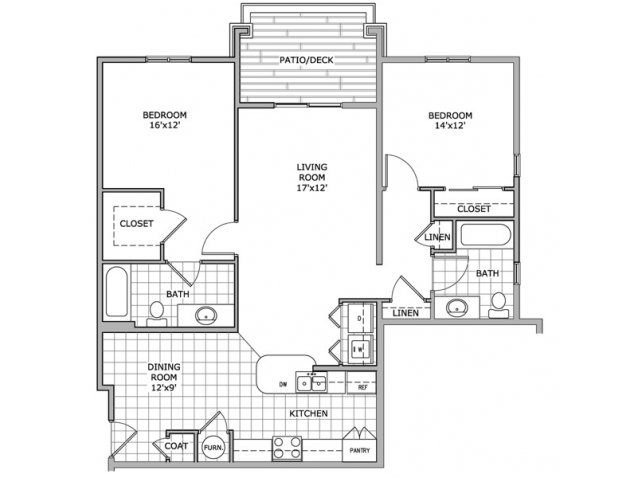 floor plan image of 2 bedroom and 2 bathroom apartment