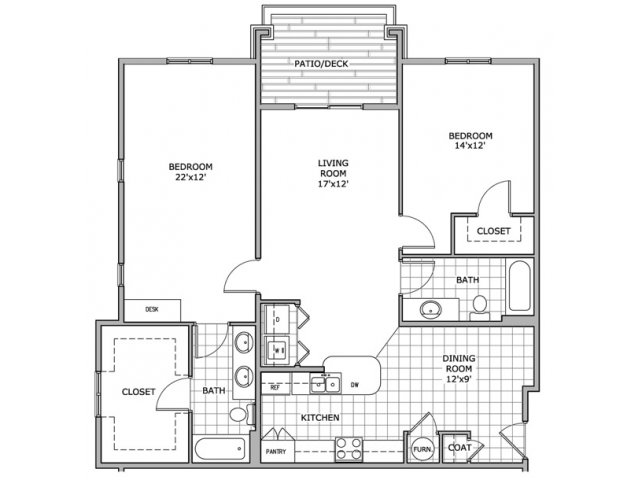 floor plan image for 2 bedroom apartment