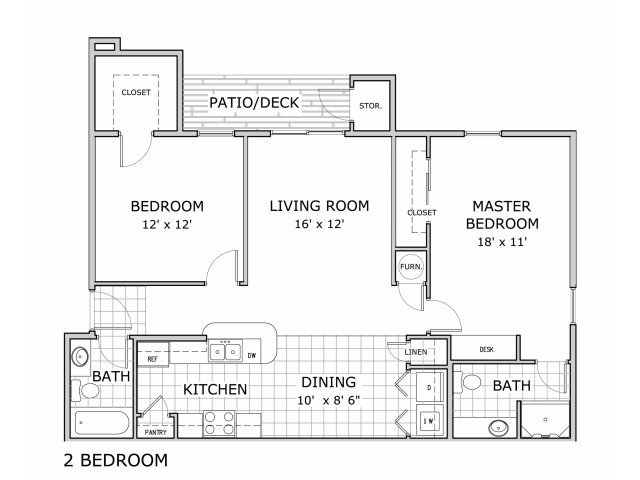 2 bedroom floor plan in pashe 2 building at Battlefield Park