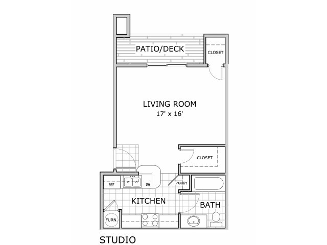 Floor plan of studio apartment at Battlefield Park