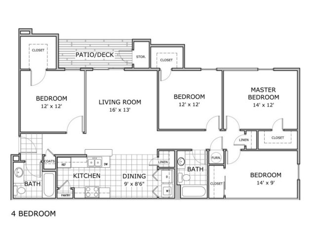 Floor Plan Image Of 4 Bedroom Apartment In Phase 2 Building At Battlefield  Park Apartments