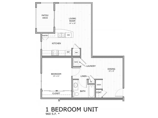 one bedroom floor plan image at Coryell Commons