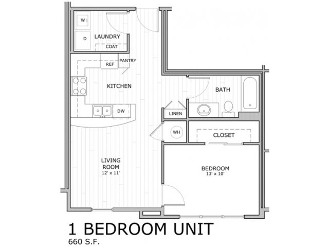 Floor plan for one bedroom apartment