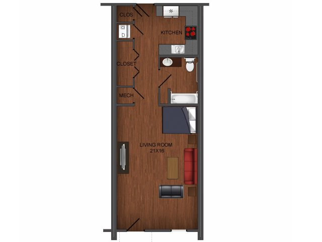 Studio apartment home floor plan at Township 28