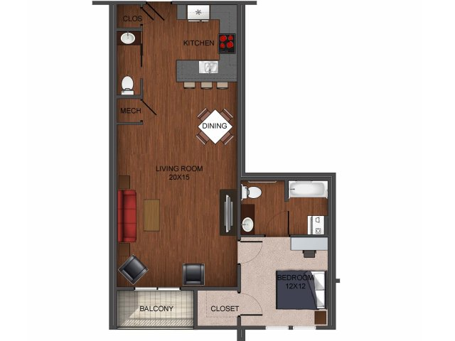 floor plan image of one bedroom apartment home at Township 28