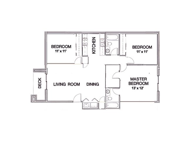 floor plan for 3 bedroom apartment at Cambridge Park