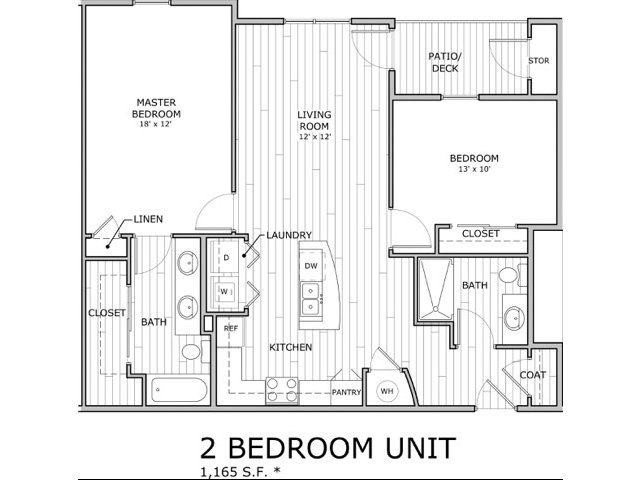 floor plan image of 2 bedroom apartment home at Coryell Commons in Springfield, MO