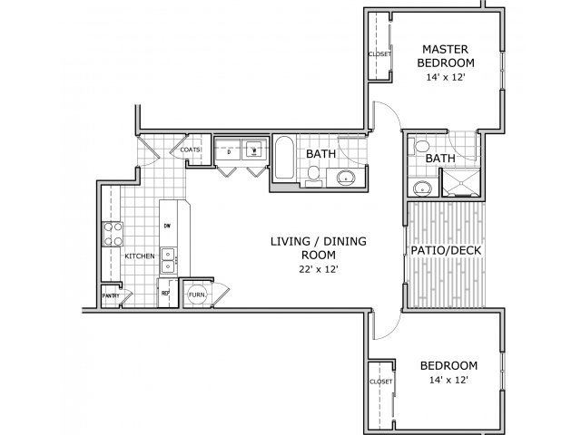 floor plan image of an apartment home with 1 bedroom ,1 office and 2 bathrooms