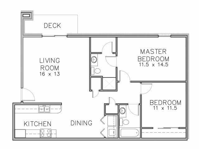 floor plan image of a 2 bedroom and 2 bathroom apartment home