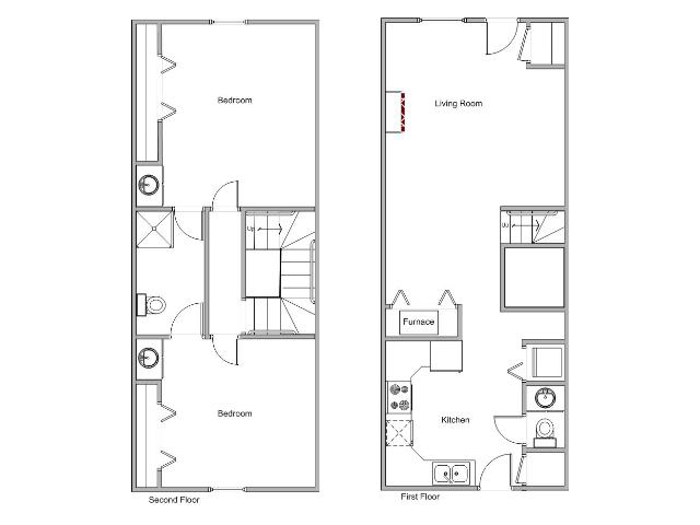 floor plan image for 2 bedroom townhome at Gazebo
