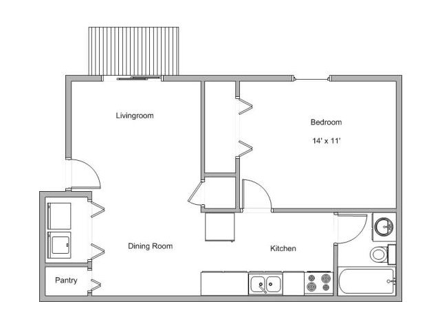 floor plan image of 1 bedroom apartment