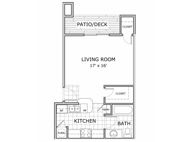 Studio floor plan layout at Battlefield Park apartments in Springfield, MO