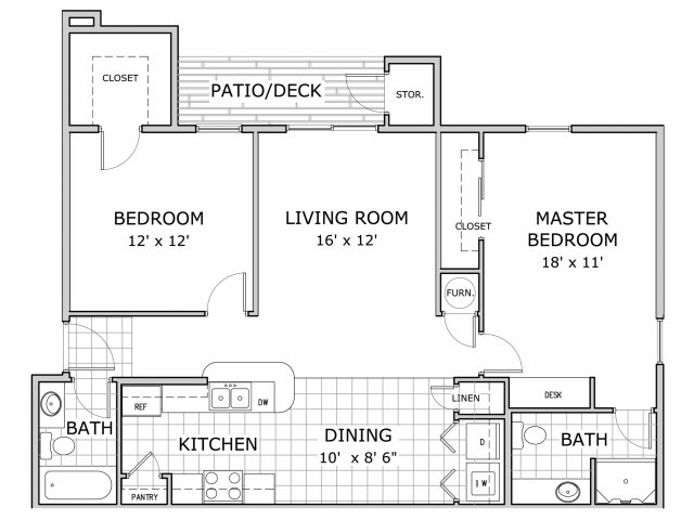 Floor plan image of 2 bedroom apartment in the phase 1 building at Battlefield Park