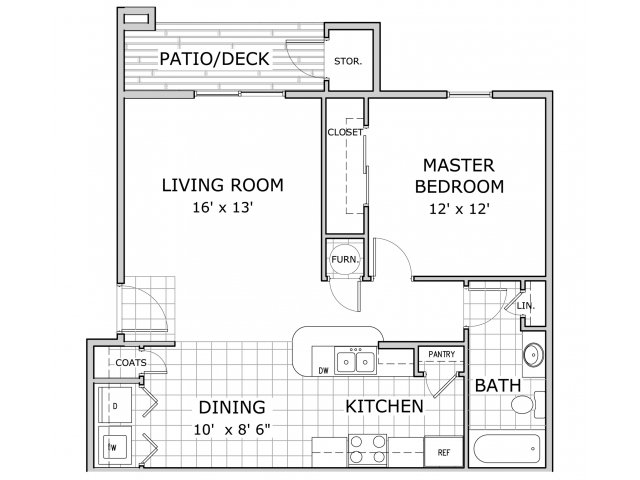 Floor plan of 1 bedroom apartment at Battlefield Park