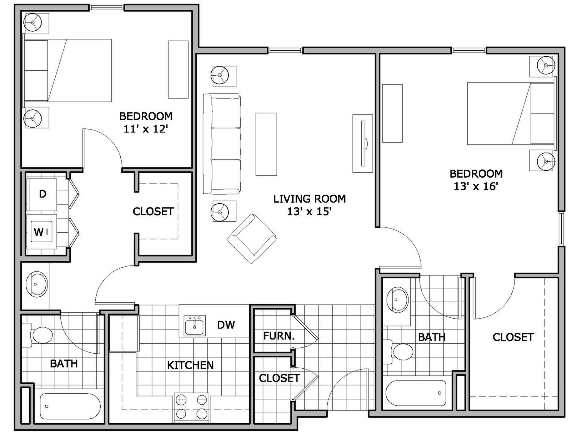 2 bed 2 bathapartment in springfield mo the abbey for Apartment floor plans