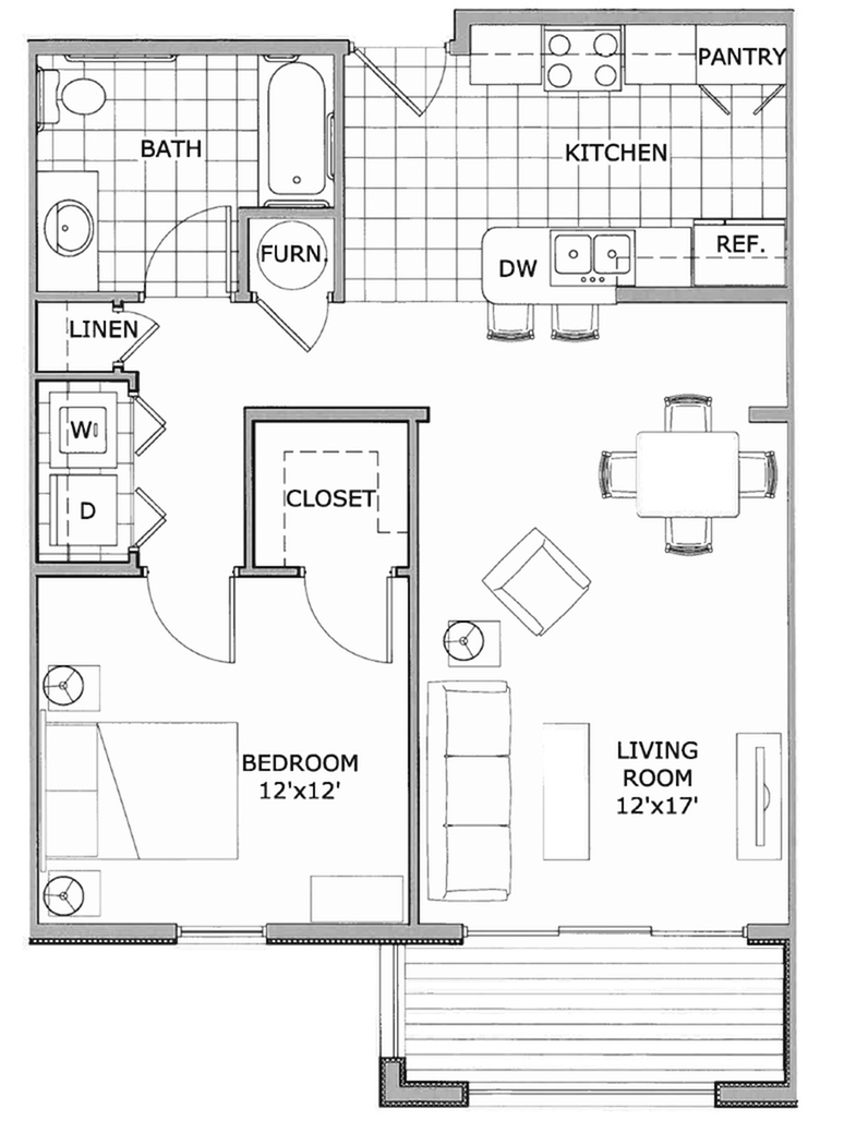 allfloor plans1 bedroom deluxe phase 2 - One Bedroom Apartment Floor Plans