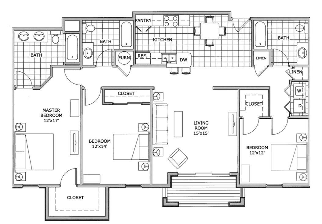 three bedroom | The Abbey | TLC Properties