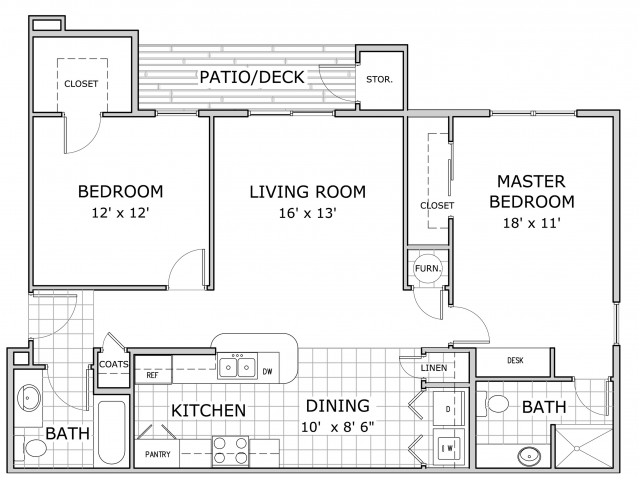 Sherwood Village 2 bedroom floor plan