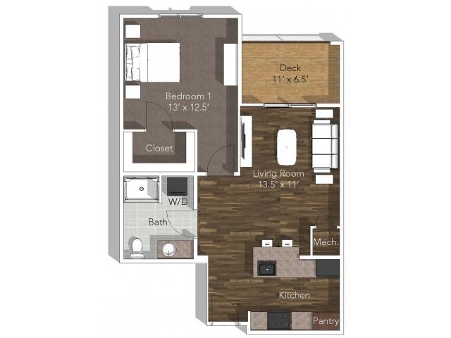 For The 1 Bedroom A (ADA) Floor Plan.