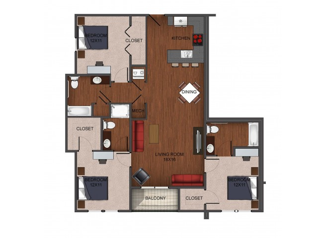 3 bedroom deluxe furnished floor plan at Township 28
