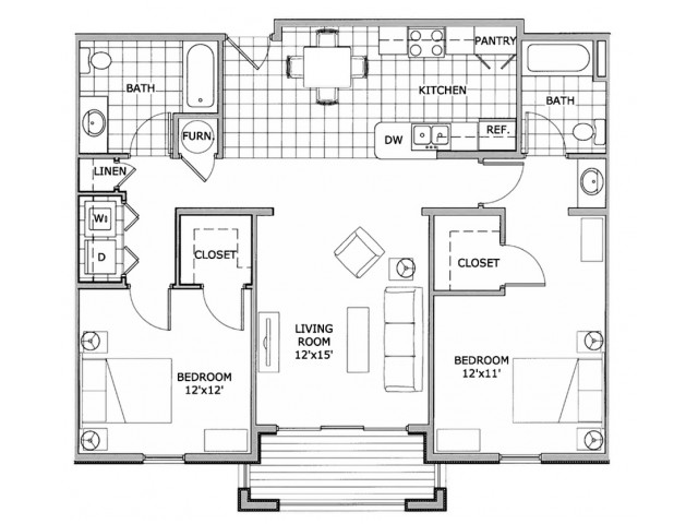 Apartment springfield mo the abbey for Ada apartment floor plans