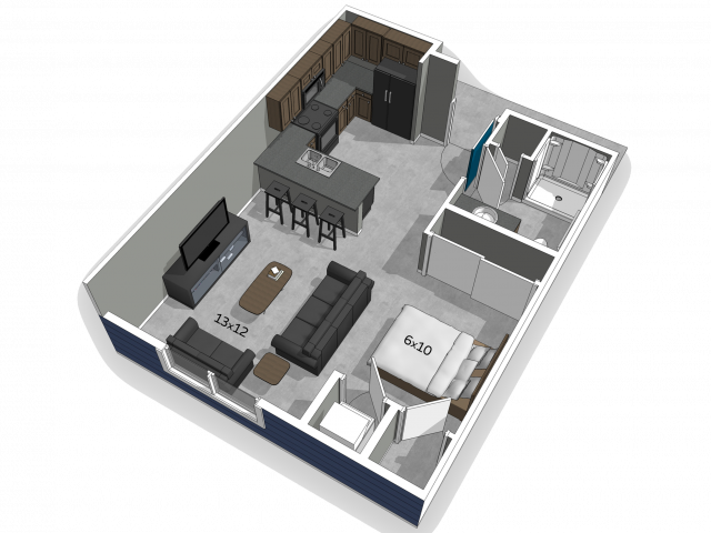 accessible studio apartment floor plan image at The Falcon