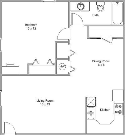 floor plan image of a one bedroom and one bathroom apartment home