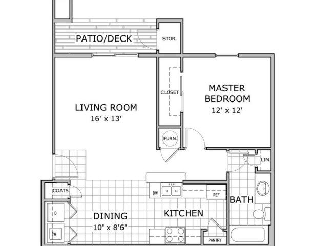 floor plan of 1 bedroom apartment home
