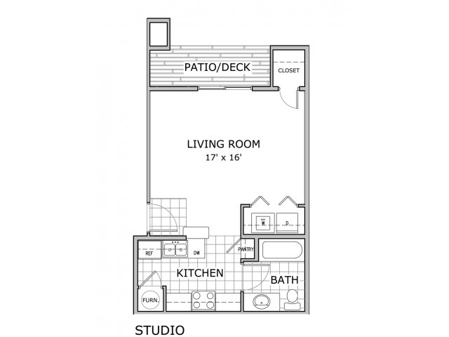 floor plan image of studio apartment