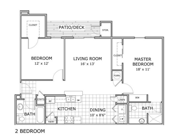furnished 2 bedroom apartment floor plan image