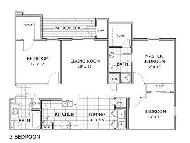 floor plan image of 3 bedroom and 2 bathroom apartment