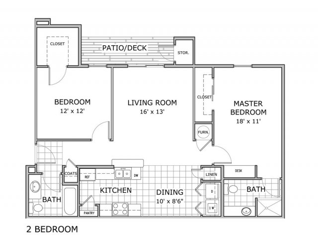 2 bedroom and 2 bathroom floor plan image