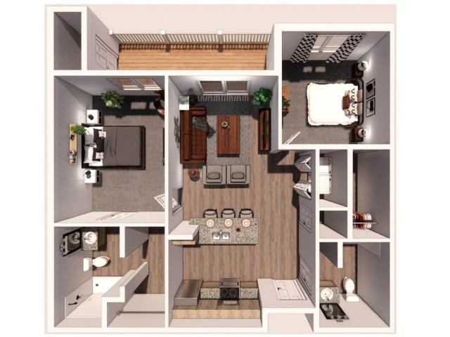 2 Bedroom A 3D Floor Plan