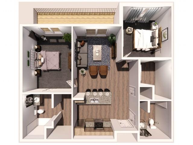 2 Bedroom B 3D Floor Plan