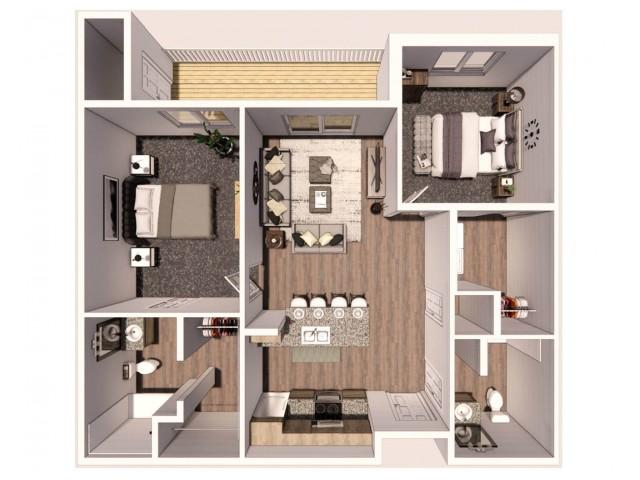 2 Bedroom C 3D Floor Plan