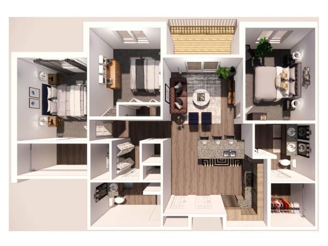 3 Bedroom A 3D Floor Plan