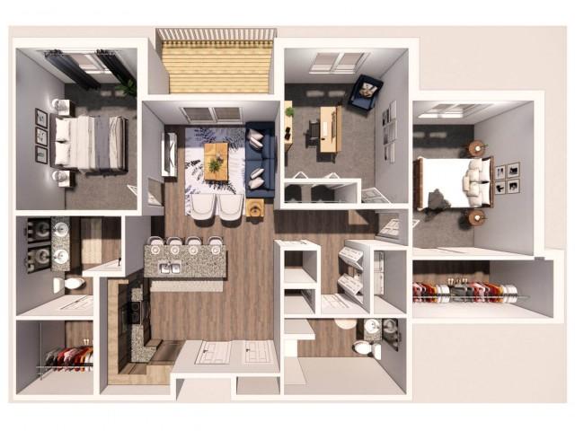 3 Bedroom B 3D Floor Plan