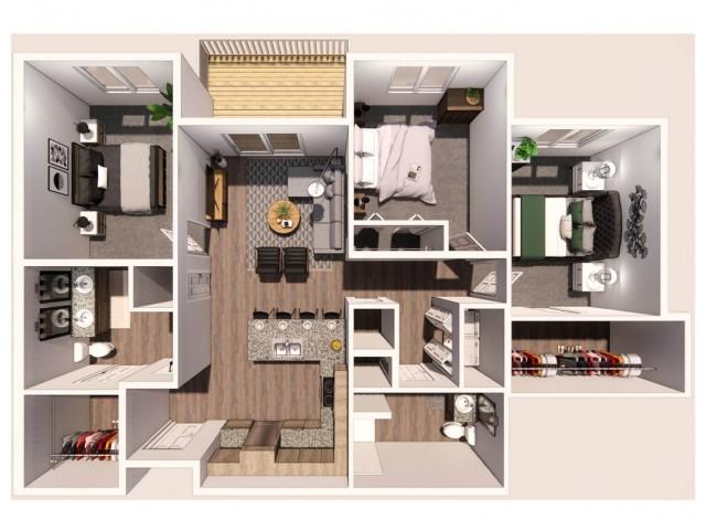 3 Bedroom C 3D Floor Plan