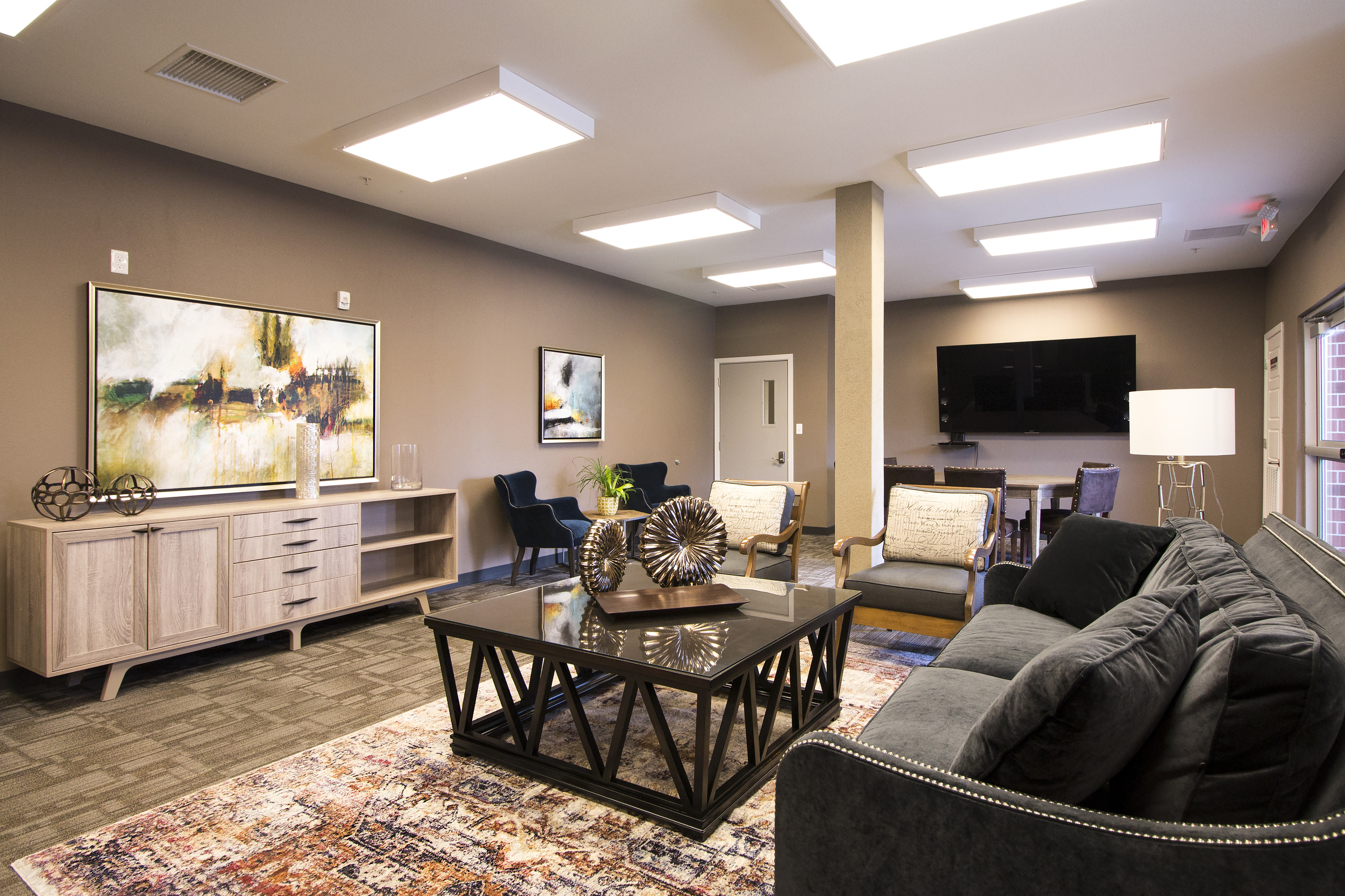 Coryell Commons 55+ community room with TV