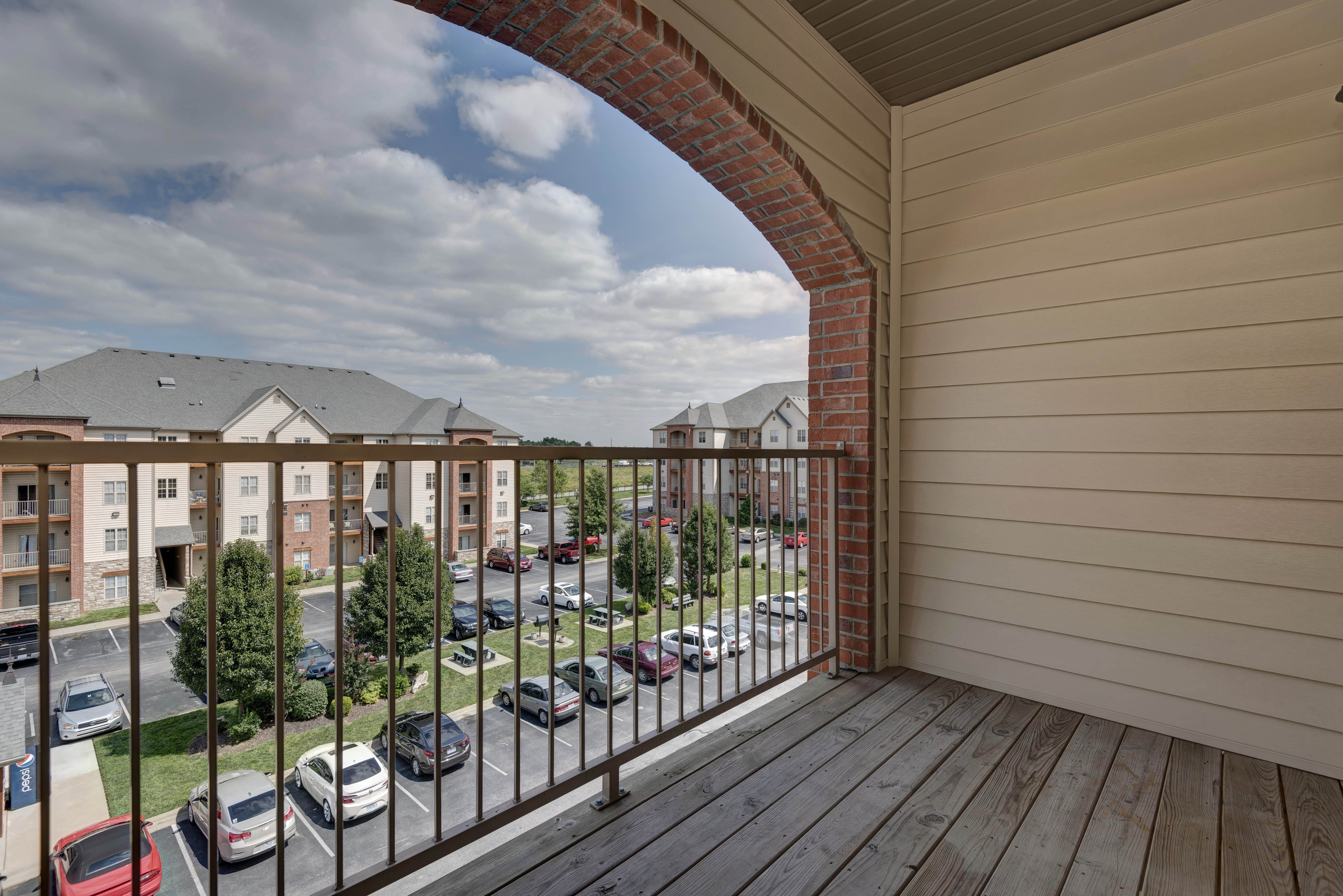 Coryell Courts balcony overlooking the apartment community