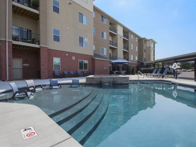 Coryell Commons 55+ outdoor salt water pool with waterfall, Springfield, Missouri