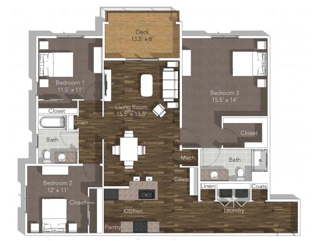 furnished 3 bedroom floor plan layout at Verandas in Springfield, MO