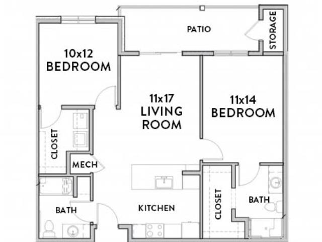 2 Bedroom C (ADA) Floor Plan with Room Dimensions